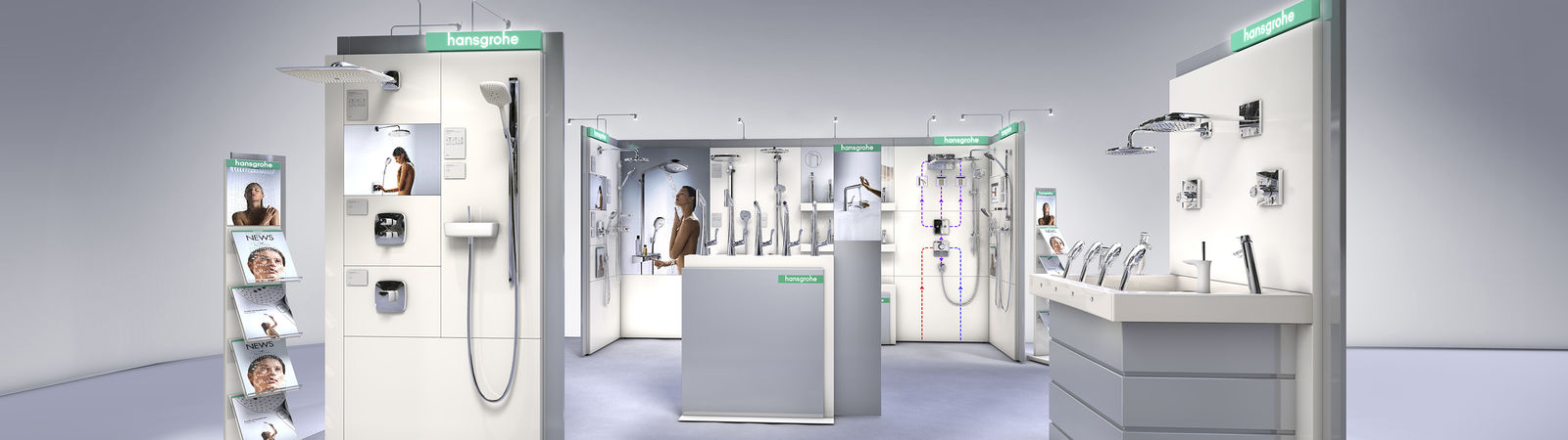 shop in shop, shop systems, Hansgrohe, shop concepts, shop fitting components